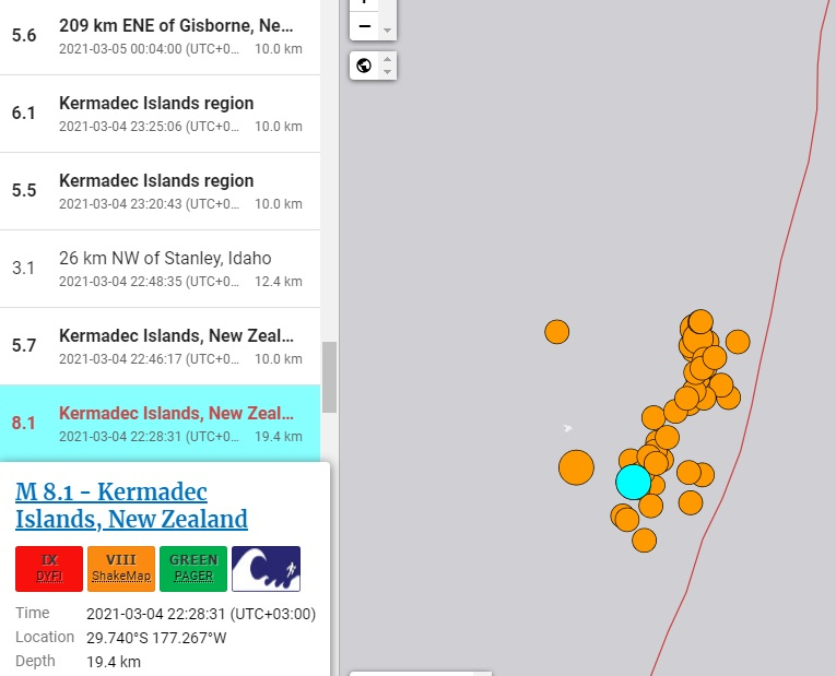 A pole shift is coming: Abnormal seismic activity at a fault near New Zealand. Earthquake 8.2 off the Kermadec Islands 7