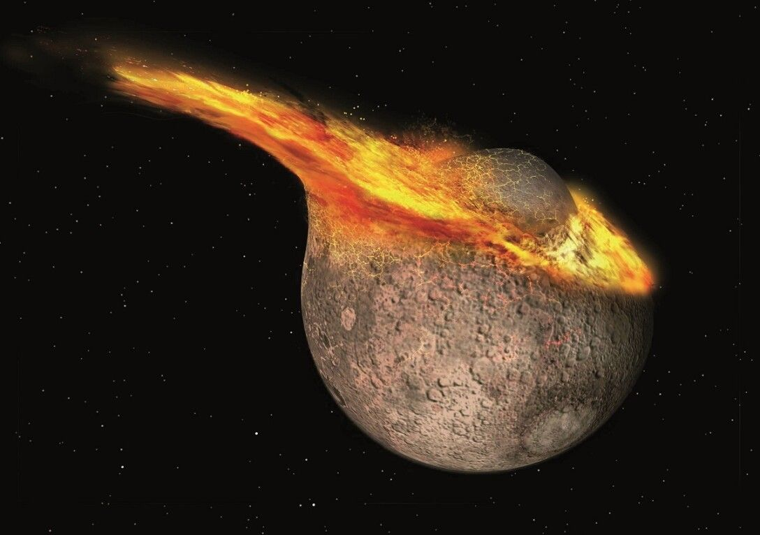 Theia, the Moon, an explosion