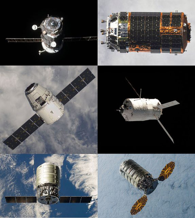 A collage of robotic cargo spaceships that were used in the past, but now they are all at the bottom of the ocean.