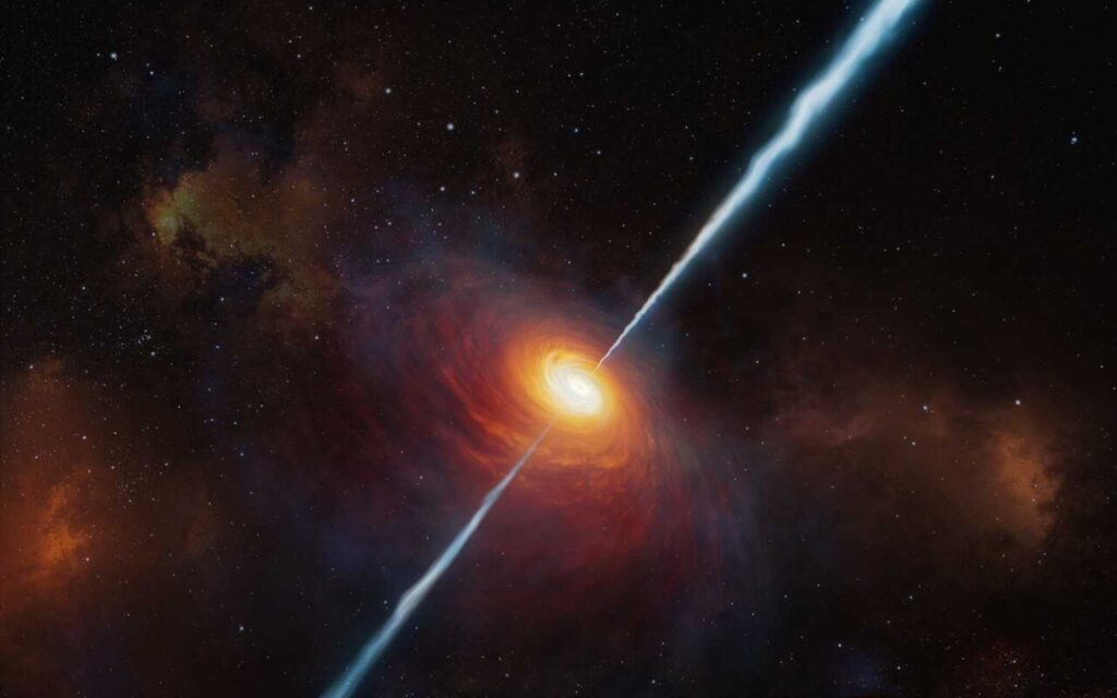 Incredibly voracious black hole became the most distant radio beacon in the universe 1