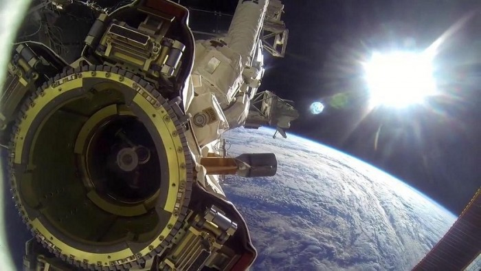 ISS cameras spotted a huge triangular UFO behind SpaceX 1
