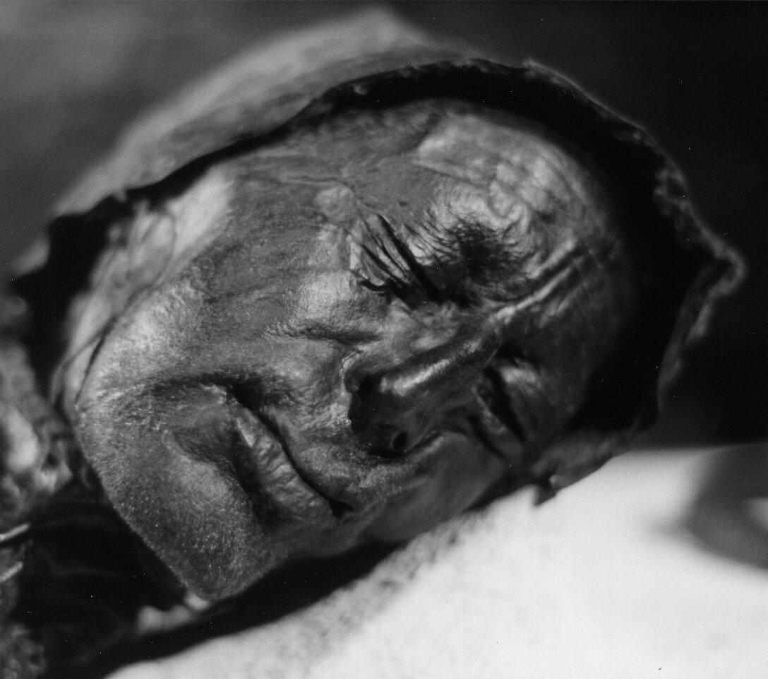 head, remains, woman, photo