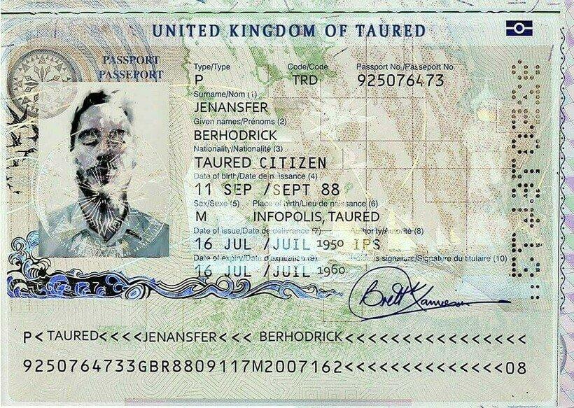 Passport of the country Tord (original UK)