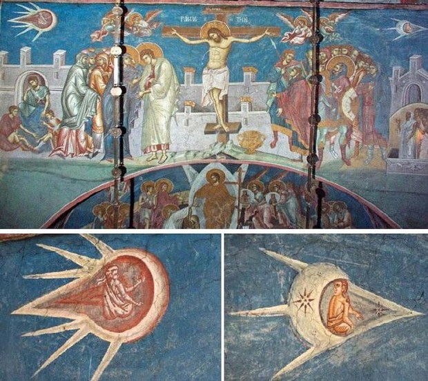 """A """"Biblical"""" UFO flying in Earth's orbit looks like a flying ship from the 1350 painting """"The Crucifixion of Christ"""" 2"""