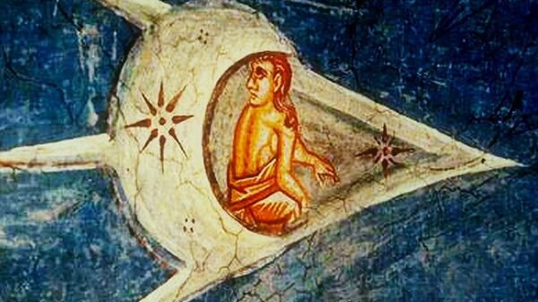 """A """"Biblical"""" UFO flying in Earth's orbit looks like a flying ship from the 1350 painting """"The Crucifixion of Christ"""" 6"""