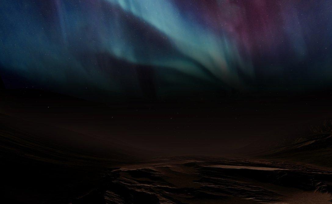 polar lights, Mars, planet surface, drawing