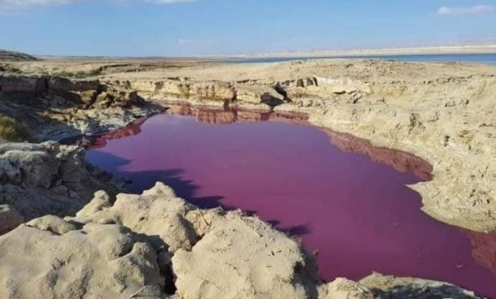 """Lake water """"Mysteriously"""" turned red near the Dead Sea in Jordan 3"""